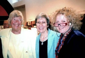 "with June Callwood and Margie Wolfe, publisher of Second Story Press at the launch of ""June Callwood: a life of action"", Toronto Autumn 2006"